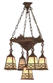 vintage hardware lighting mission 5 arm chandelier pan light chain shade 528 lpn c1