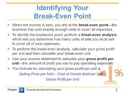 identifying your break even point when net income is zero you are at