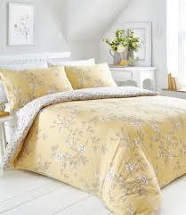 king size yasmina ochre yellow fl reversible print duvet cover set