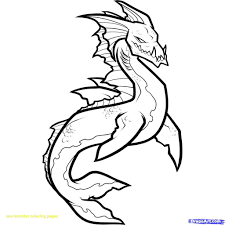 Sea Monster Black And White Coloring Pages Print Coloring