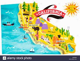 map of tourist attractions in california stock photo royalty free