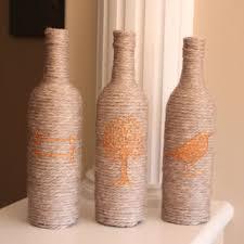 Wine Bottle Decor, Yarn Wrapped Wine Bottles, Beige Home Decor, Copper  Decor,