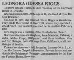 Leonora Odessa Stringer Riggs (1896-1982) - Find A Grave Memorial