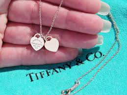 details about tiffany co sterling silver rubedo mini double heart tag pendant necklace