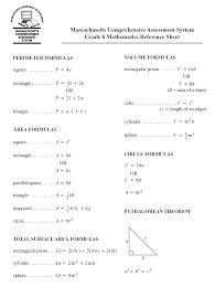 8 Grade Math Formula Chart 80 Mcas Formula Sheet Grade 8 Mcas Formula 8 Sheet Grade