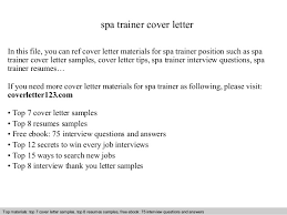 Spa Trainer Cover Letter