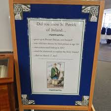 gumberg library displays the land of saints and st patrick facts
