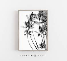 palm leaf black and white large wall