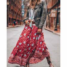 <b>BOHO</b> INSPIRED 2019 NEW Summer Skirt Floral <b>Print Elastic Waist</b> ...
