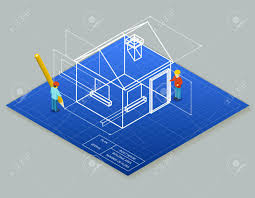 architectural design blueprint. Architectural Design Blueprint Drawing 3d Isometric Illustration. Stock Vector - 43836356 I