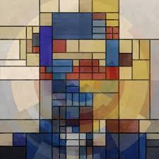 saatchi art artist czar catstick collage square piet mondrian portrait