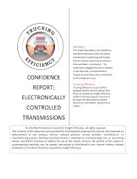 Confidence Report Electronically Controlled Transmissions
