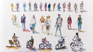 Jeff carter, occupier_1, modified ikea products (wood, umbrellas, leds, glassware, electric drill), 60″ h x 96″ w x 48″ d, 2016. How To Quickly Sketch People And Cyclists Real Time Urban Sketching Watercolor Youtube