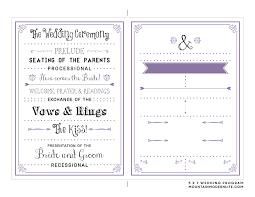 Invitations Cool Wedding Program Templates For Modern Wedding