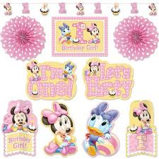minnie mouse 1st birthday room decorating kit 10pc