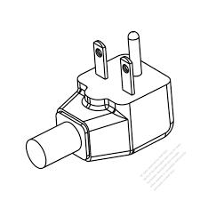 Usa canada nema 6 15p elbow ac plug 2 p 3 wire