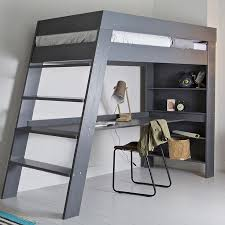 ultra stylish and contemporary the julien kids loft bed with desk in grey is a