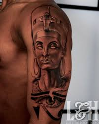 Black And Grey Portrait Queen Nefertiti Tattoo Love N Hate