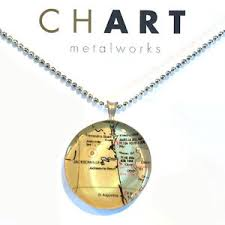 Details About Chart Jewelry Classic Nautical Necklace Map Jacksonville St Augustine Florida