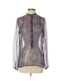 Details About Antik Batik Women Purple Long Sleeve Silk Top Xs