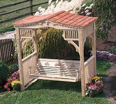 picture of wood deluxe victorian swing stand w cedar roof