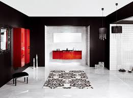 Interior:Contemporary Kitchen With Red And White Interior Feat White Solid  Countertop Fancy Bathroom In