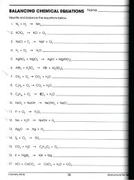 balancing equations worksheet answer key pg chemical reactions on balancing chemical equations worksheet middle school symbol