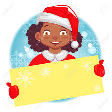 Christmas Greeting. African American Girl Holds Christmas Card... Stock  Photo, Picture And Royalty Free Image. Image 85948359.