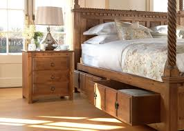 four poster bedroom furniture. Natural Wood Four Poster Bed With Underbed Storage And Large Wooden Bedside Cabinet Bedroom Furniture