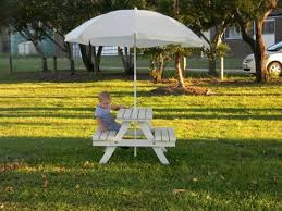Amazoncom KidKraft 00 Outdoor Table And Bench Set With Cushions Childrens Outdoor Furniture With Umbrella