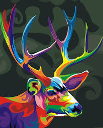 diy abstract animal colorful deer digital no frame oil painting by numbers kits