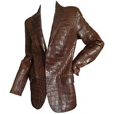 ralph lauren purple label vintage crocodile embossed leather jacket for