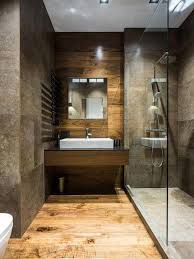 Small Picture Walk in Shower in a Luxury Bathroom with Stone Tile and Wood