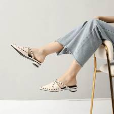 Carlene Cross Studs Straps Mules, Women's Fashion, Shoes, Flats & Sandals  on Carousell