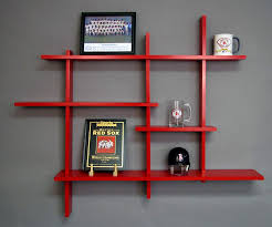 deluxe four level floating shelf red made usa home modern wall shelves kitchen cabinet ideas contemporary