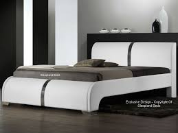 white faux leather bed. Brilliant Leather Sleepland Ebony Contemporary Leather Bed White  With Faux H