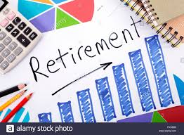 The Word Retirement Written On A Hand Drawn Bar Chart