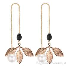 2018 dangle chandelier earrings jewelry brand new fashion elegant high quality imitation pearl gold plated leaves drop earrings lr001 from lovefashiongirl