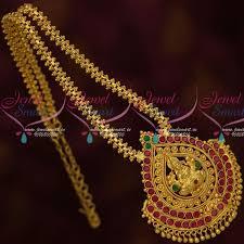 nl13626 south indian kemp temple jewelry big pendant ghajiri chain traditional designs