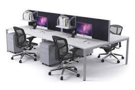 office workstation desks. Litewall 2000 - Leg 4 Person Office Workstation Silver Square [1200L X 800W] Desks S