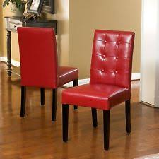 bonded leather red dining chair set