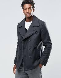 selected merser wool mix pea coat grey men coats jackets selected er jacket selected suit jacket with contrast trim