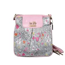 Coach Fashion Poppy Small Pink Grey Crossbody Bags EPW  BESTSALE  COACH