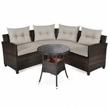 l shape outdoor wicker sofa set