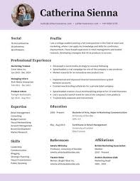 College Resume Classy Lilac Circle Photo Simple Minimal College Resume Templates By Canva
