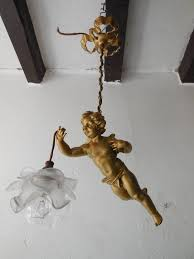 french bronze winged cherub chandelier circa 1930 for housing 1 light with fl glass shade heavy bronze rare chains and top