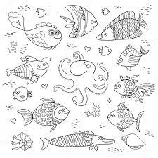 Illustrazione Cernia Da Colorare Impostare Sveglio Dei Pesci E