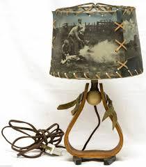 rare vintage mid century early foto vues western horseshoe table lamp cowboy