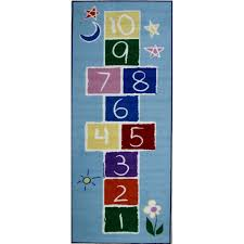 primary hopscotch light blue 7 foot runner rug fun time