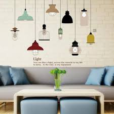 colorful hanging style chandelier wall decal ceiling lamp art sticker for living room girls bedroom nursery wall sticker